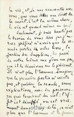 Émile ZOLA Lettre autographe signée. L'Exil, Dreyfus et la littérature. 1899