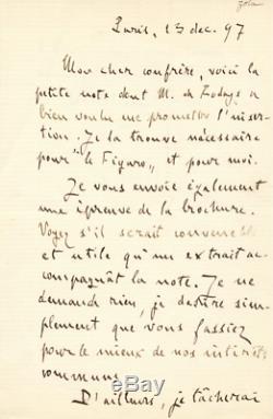 Émile ZOLA Lettre autographe signée sur l'Affaire DREYFUS. Décembre 1897