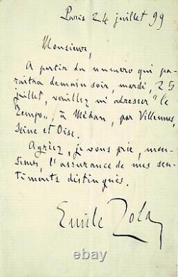 Émile ZOLA de retour d'exil Lettre autographe signée au journal Le Temps