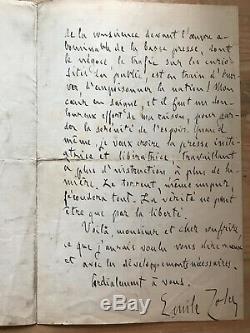 Émile Zola Affaire Dreyfus Document historique Lettre Autographe Manuscrit Signé