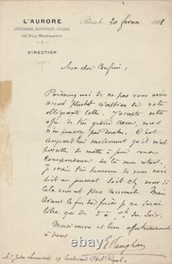 Ernest VAUGHAN Lettre autographe signée à Jules LERMINA Affaire DREYFUS