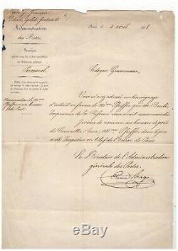 Etienne Arago / Lettre Signée / Administration Des Postes / Révolution De 1848