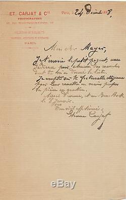 Etienne CARJAT. Lettre autographe signée au communard Gustave Mayer. 1888