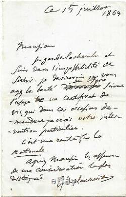 Eugène DELACROIX / Lettre autographe signée moins d'un mois avant sa mort (1863)