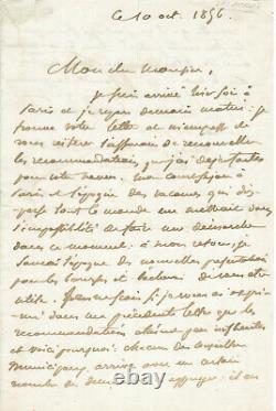 Eugene DELACROIX lettre autographe signée 2 belles pages 1856
