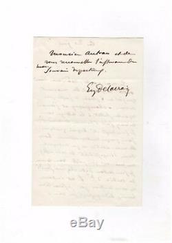 Eugène Delacroix / Lettre Autographe Signée (1854) / À L'épouse De Joseph Autran