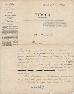 Eugène-François VIDOCQ Lettre autographe signée