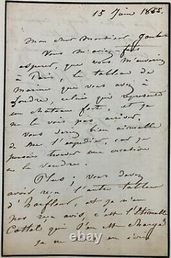 Eugène ISABEY Lettre autographe signée à propos d'une marine