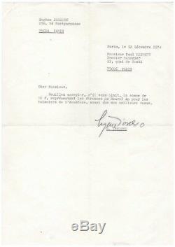 Eugène Ionesco / Lettre Signée (1974) Et Carte De Visite / Académie Française