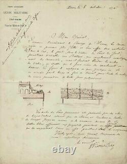 Eugène VIOLLET-LE-DUC Lettre autographe signée avec dessins. Le Siège de Paris