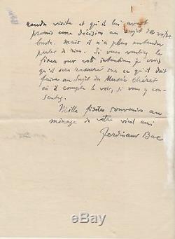 FERDINAND BAC Lettre autographe signée
