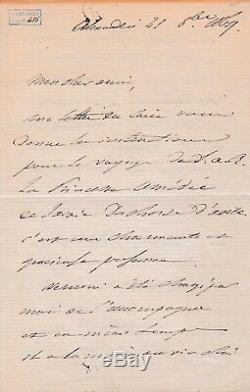 FERDINAND DE LESSEPS Lettre autographe signée inauguration du Canal de Suez
