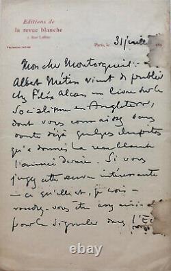 Félix FÉNÉON Lettre autographe signée sur Le Socialisme en Angleterre (1897)