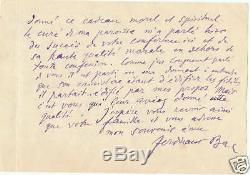 Ferdinand Bac. Emouvante Lettre Autographe Signee