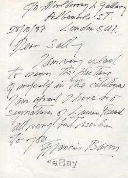 Francis BACON / Lettre autographe signée à propos de Lucian FREUD