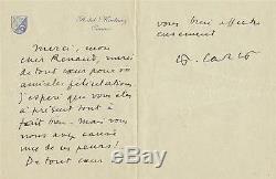 Francis CARCO Lettre autographe signée sur papier à entête de l'Hotel Martinez
