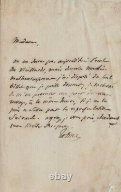 François Joseph TALMA, Comédien, Lettre autographe signée à une Baronne