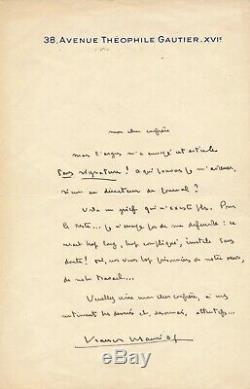François MAURIAC lettre autographe signée Je nessaye plus de me défendre