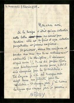 François MITTERRAND / Rare lettre autographe signée de jeunesse. 1938