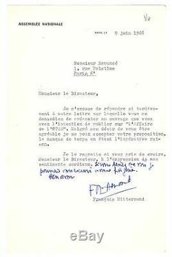 François Mitterrand / Lettre Signée (1966) / O. T. A. N