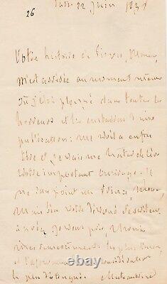 François-René CHATEAUBRIAND Lettre autographe signée