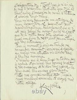 Frantisek KUPKA Lettre autographe signée. L'exposition Cubism & abstract art