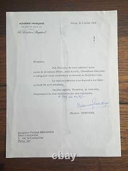 GENEVOIX (Maurice). Lettre dactylographiée signée, datée du 5 avril 1968