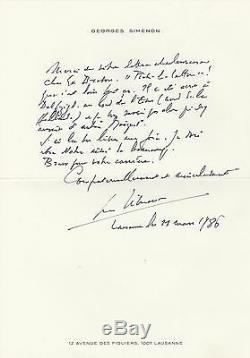 GEORGES SIMENON Lettre autographe signée évoque son premier MAIGRET