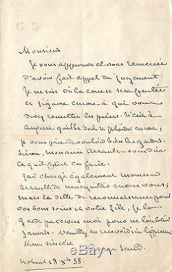 George SAND Lettre autographe signée à E. Cabasson. 1858. Affaire Breuillard