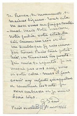 George SAND / Lettre autographe signée à Gustave FLAUBERT / Visite à Croisset