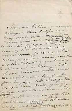 George SAND Lettre autographe signée évoquant Frédéric Chopin (1841)