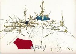 Georges MATHIEU peintre envoi autographe signé plus ajout tissu 1978 abstraction