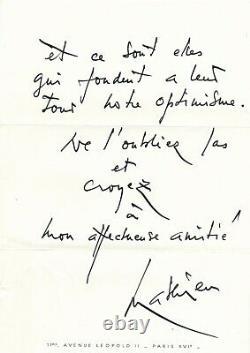 Georges MATHIEU triompher des forces du mal belle lettre autographe signée