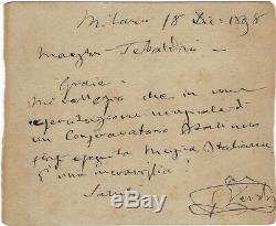 Giuseppe VERDI Lettre Autographe Signée au Maestro Giovanni Tebaldini