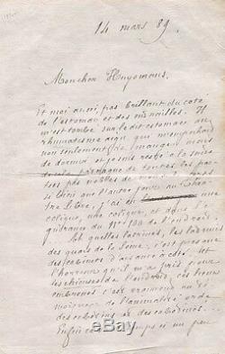 Goncourt Lettre Autographe Signée À J. K. Huysmans Du 18 Mars 1889