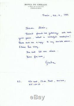 Greta GARBO Lettre autographe signée Rare 1er Fev 1989