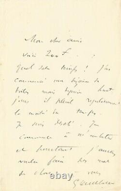 Gustave CAILLEBOTTE Lettre autographe signée à Claude MONET, sur la peinture