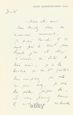 Gustave CAILLEBOTTE Lettre autographe signée à Claude Monet
