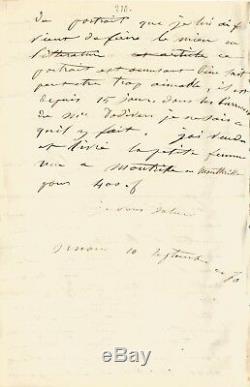 Gustave COURBET / Lettre autographe signée / Sur sa peinture et une exposition
