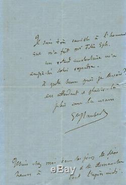 Gustave FLAUBERT / Lettre autographe signée / INEDITE 1866 Legion d'Honneur