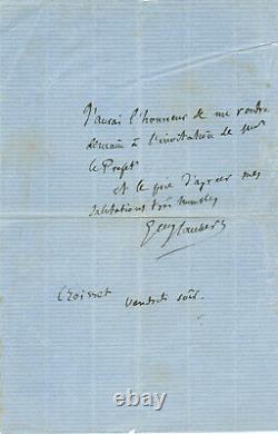Gustave FLAUBERT / Lettre autographe signée Invitation du Prefet