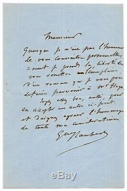 Gustave FLAUBERT / Lettre autographe signée / Madame Bovary à Victor Hugo
