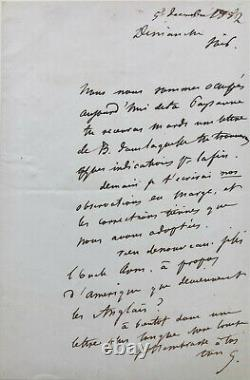 Gustave FLAUBERT Lettre autographe signée à Louise Colet (1852)