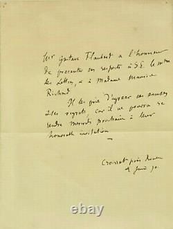 Gustave FLAUBERT Lettre autographe signée au ministre des Lettres (1870)