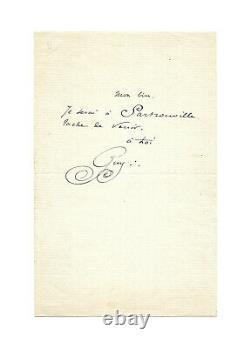 Guy de MAUPASSANT / Lettre autographe signée / Rendez-vous / Billet / Canotage