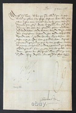 HENRI III Roi de France Lettre signée Agrément au Pape 1585