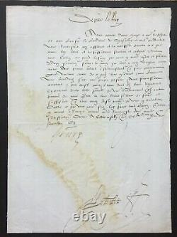 HENRI II Roi de France Lettre signée à Odet de Coligny Cardinal de Chatillon