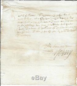 HENRI IV Lettre signée avec lignes autographes