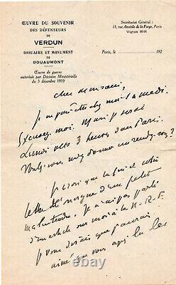 HENRY DE MONTHERLANT, Ecrivain, Lettre Autographe Signée
