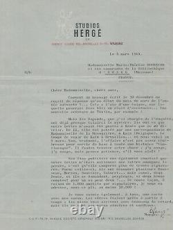 HERGÉ / Lettre signée. Tintin et l'enquête des Dupondt. Signature autographe